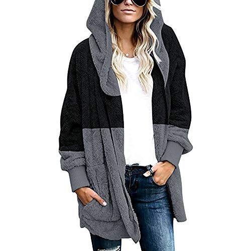 Colourful Womens Splicing Hooded Jacket Open Front Outdoor Coat