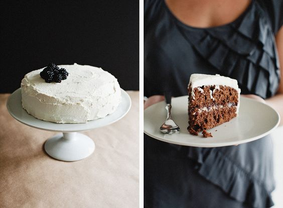 Cocoa Layer Cake with Blackberries + Mascarpone Cream