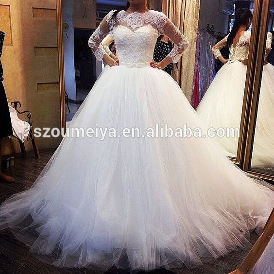 Oumeiya ow36 tulle puffy ball gown lace appliqued corset for Lace sleeve corset wedding dress