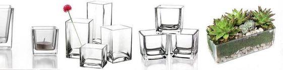 Szklane wazony kwadratowe