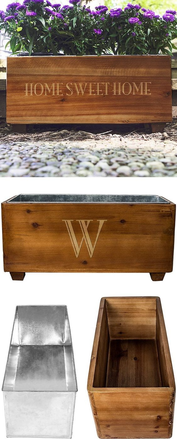 Personalized Stained Rustic Wood Planter Box Planters