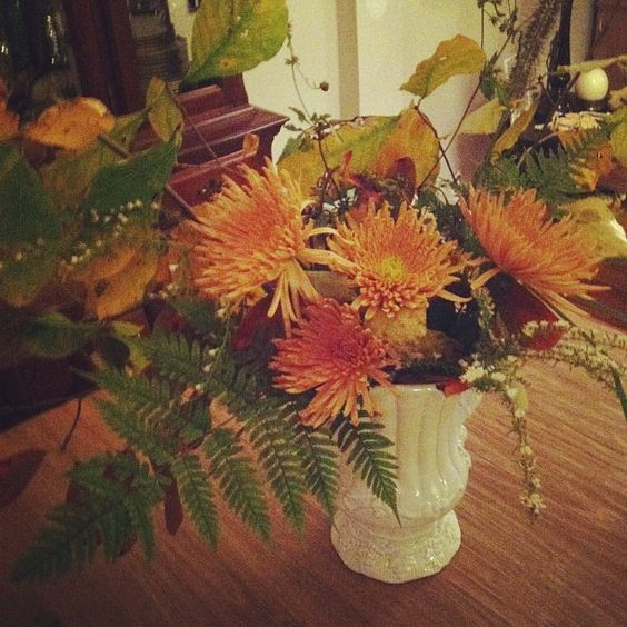 Fall flowers and branches