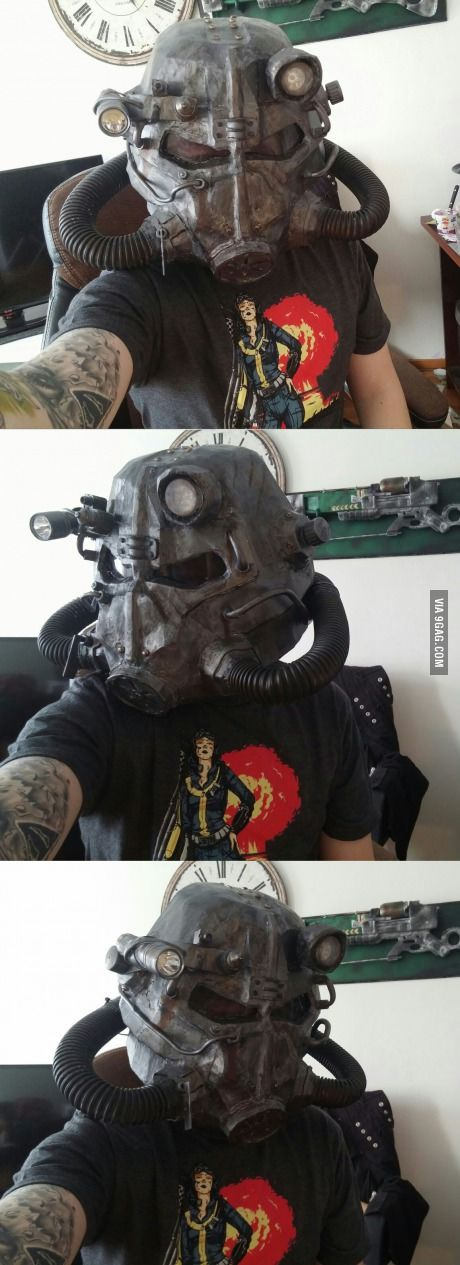 T-45D power armor helmet I made. It is from fallout games