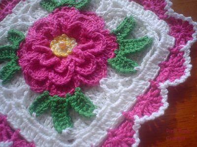 Pink Square Rose Potholder