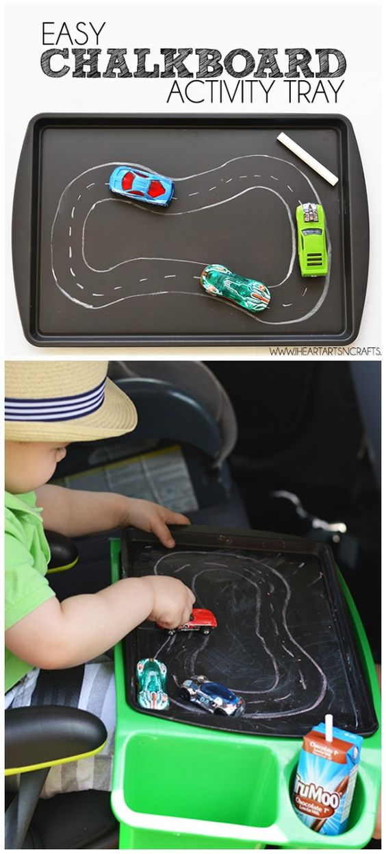 Surviving Family Road Trips With Todders - Chalkboard/Magnet DIY Activity Tray