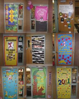 decorate classroom doors (but just leave a space for the window so I can peek in!)