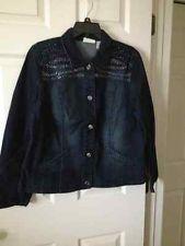 Chicos Platinum Zebra Embellished Denim Indigo Wash Jacket Size 2 = 12/14 NWT