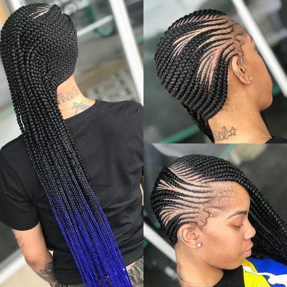 Quick Braiding Styles For Natural Hair Cornrow Hairstyles For Short Natural Hair African Hair In 2020 Lemonade Braids Hairstyles Natural Hair Styles Braided Hairstyles