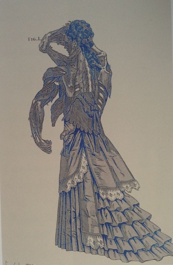 McQueen created his own 'museum of woman-monsters' in his second couture collection fro Givenchy, Eclect Dissect, shown in July 1997. In the period leading up to to the show, his art director SImon Costin combined the late Victorian costumes McQueen was then looking at with with a series of animated skeletons and muscle men from the sixteenth-century anatomical plates of Andreas Vesalius in a series of collages.  Caroline Evans, Fashion at the Edge (2007)