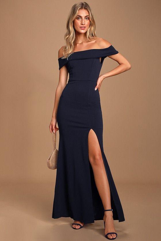 Navy Blue Off-the-Shoulder Maxi Dress
