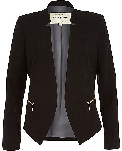 River Island Womens Black crepe fitted notch collar jacket black