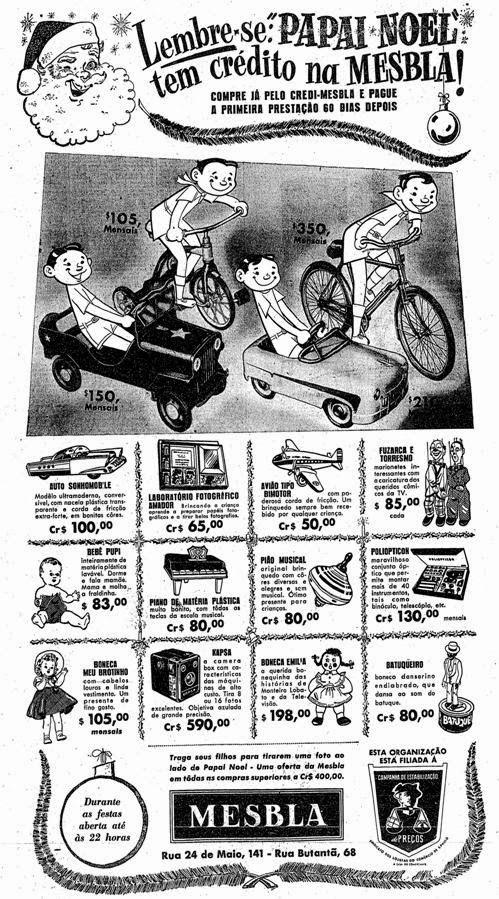 Propaganda de Natal na Mesbla em 1954. Brinquedos em promoção.
