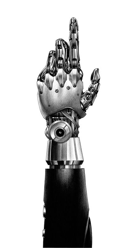Roboto Hand By Hakuchi Otomo Main De Robot Dessin Main Dessin Robot