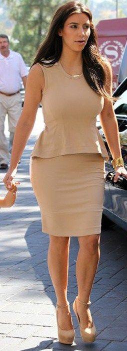 Kim Kardashian - Peach/Beige Peplum Dress, Nude Platform Ankle ...