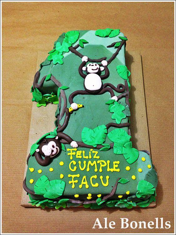 Torta Cumpleaños 1 Año. Temática monos en la selva