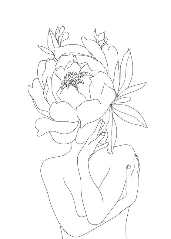 "Minimal Line Art Woman Flower Head Mini Art Print by Nadja - Without Stand - 3"" x 4"""