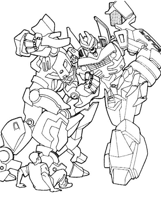 transformers fighting coloring pages - photo#2