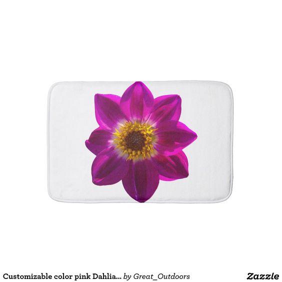 Customizable color pink Dahlia bath mat.