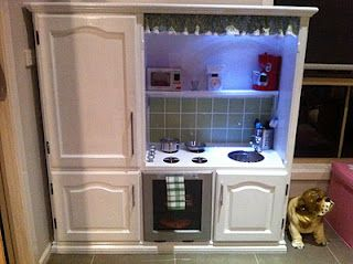 This might be one of the most brilliant ways to repurpose an old entertainment center.: Kiddie Kitchens, Kids Play Kitchen, Kids Stuff, Cute Kids, Kid Kitchens, Kids Collection, Kitchens Playrooms, Kids Kitchens, Play Kitchens
