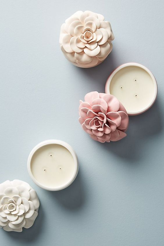 Slide View: 2: Ceramic Flower Candle