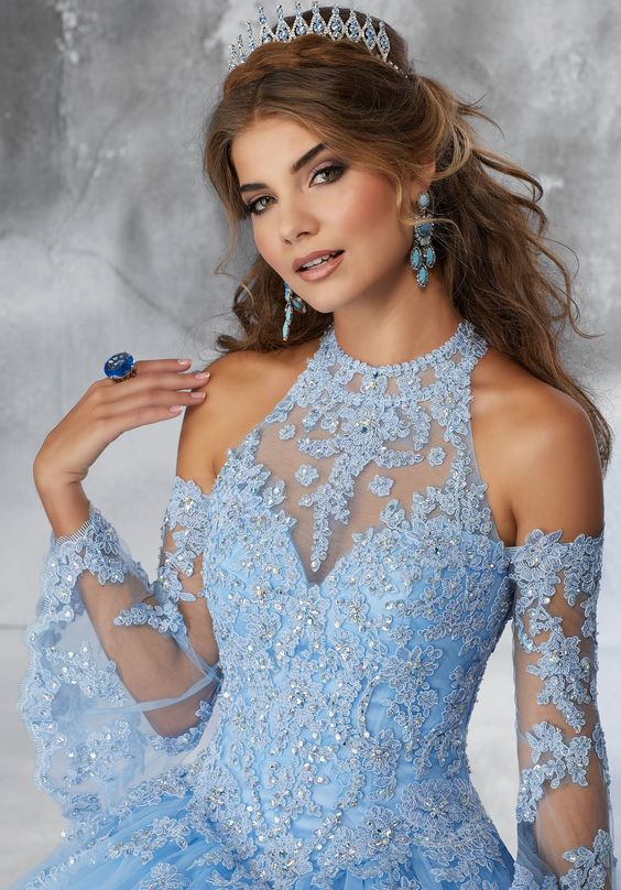 Bell Sleeved Lace Quinceanera Dress by Mori Lee Vizcaya 89192