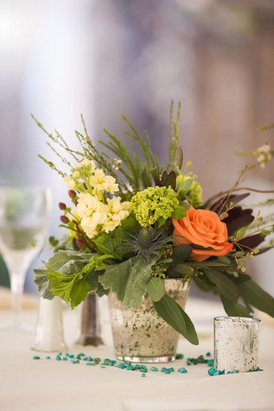 Coral rose and green hydrangea centerpieces tony gambino