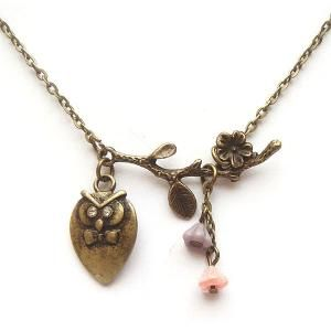 Antiqued Brass Branch  Owl Necklace by gemandmetal on Etsy