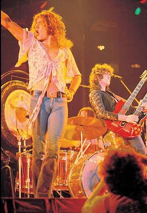 "Led Zeppelin live at Madison Square Garden, NYC 1973   ""I'm a man...I spell M. A. N. - I'm a man."""