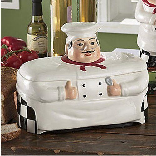 Fat Chef Kitchen Accessories: Bistro Fat Chef Kitchen Decor Cookie Jar Canister: Home