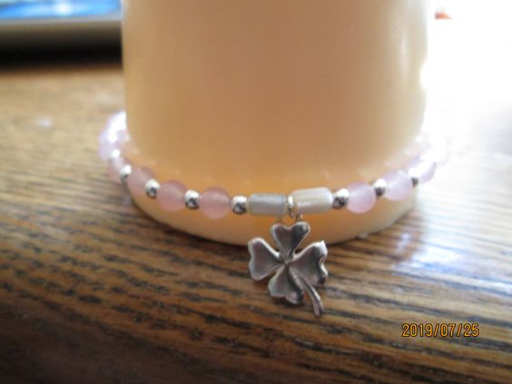 17.76ctw Genuine Pink Quartz & Mother of Pearl Clover Charm 925 Sterling Silver Beaded Bracelet, Wt. 5.6 G by TamisVintageShop on Etsy