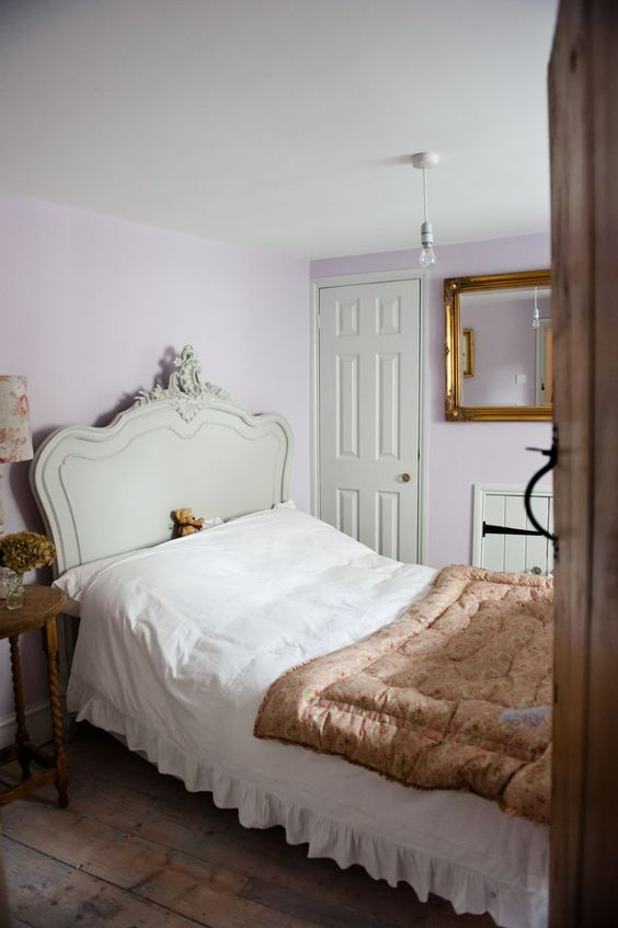 "This adorable girly interior! Walls painted in Mylands Colours of London ""No. 260 Early Lavender""."