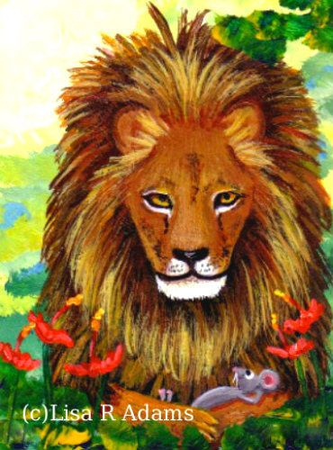 Lion Mouse ACEO art print of Origpainting Giclee card Creationarts #Miniature http://www.ebay.com/itm/-/222418548230?roken=cUgayN&soutkn=UP0yzd #lionaceo #catart #mouseaceo