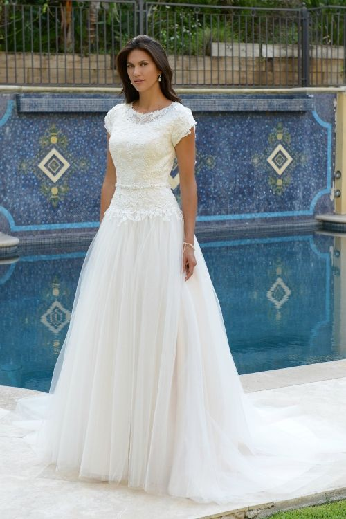 Modest Wedding Dress From Fantasy Bridal Modest A Line Tulle