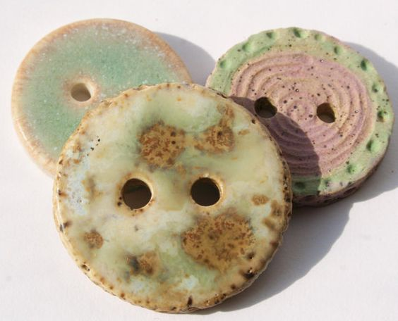 Handmade Ceramic Buttons Set of 3 by LisaPetersArt on Etsy
