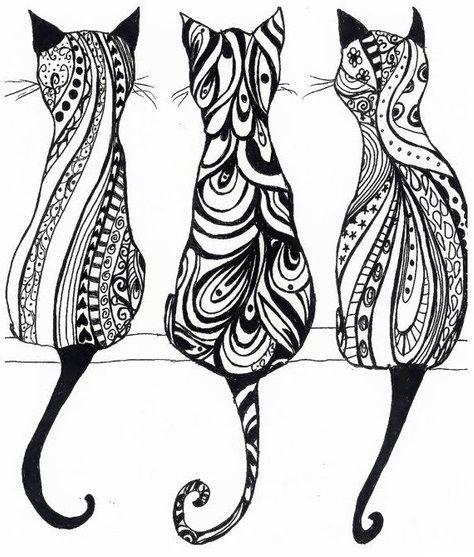 Kunstunterricht Muster Katze Erwachsenen Malvorlagen