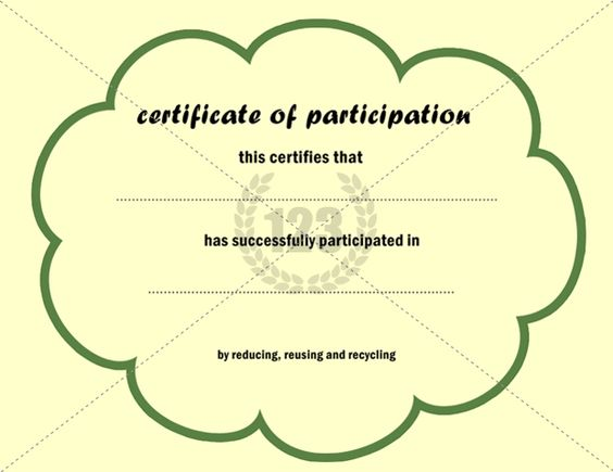 This Is An Eco Friendly Certificate Of Participation Template