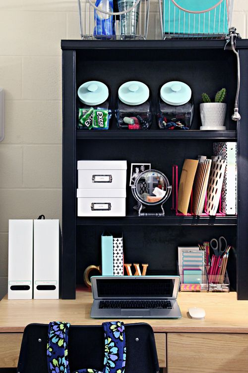 add a hutch small bookcase to you dorm desk to give you. Black Bedroom Furniture Sets. Home Design Ideas