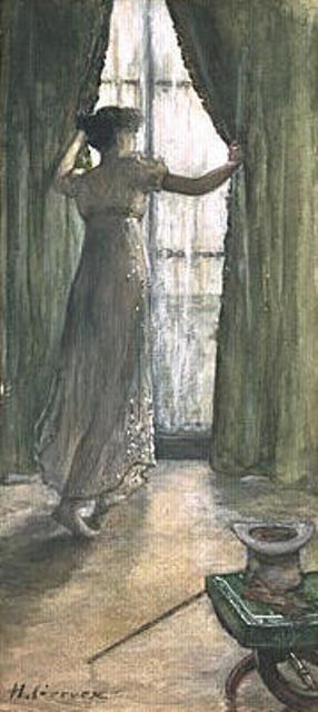 Henri Gervex - Jeune femme debout, vue de dos, devant une fenêtre