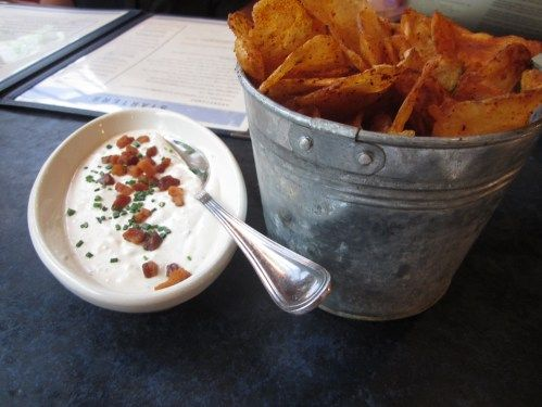 Blue Smoke's Warm Barbecue Potato Chips with Blue Cheese and Bacon Dip