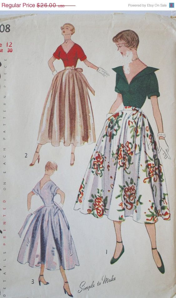 20% Off SALE 1950s Party Dress / Vintage Retro 50s Blouse Full Circle Skirt Cocktail Dress Simplicity Pattern 3208 Bust 30 on Etsy, $20.80