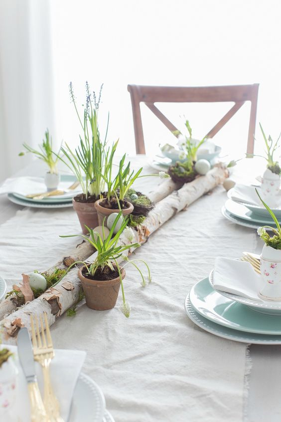 birch Easter table