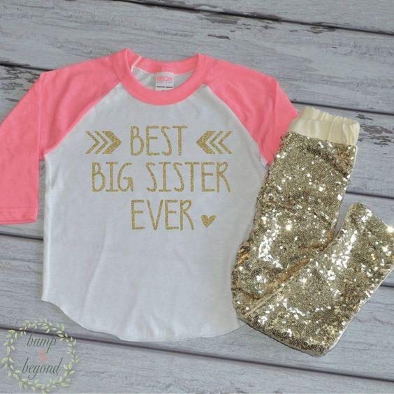 Best Big Sister Shirt Girls Big Sister Shirt Gold Big Sis Outfit Little Sister Shirt New Baby Announcement Raglan Top and Sequin Pants 125 #announcement_shirt #best_big_sister #big_sis_outfit