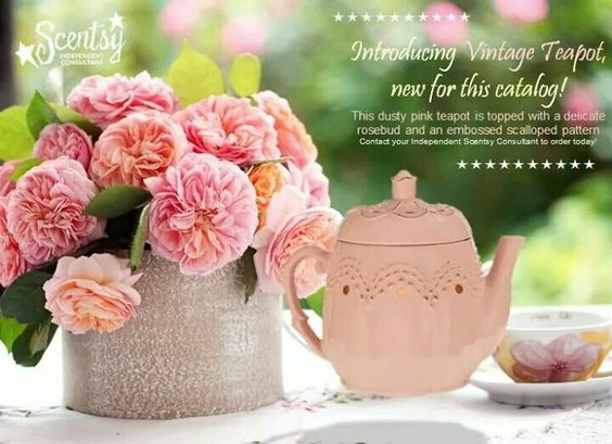 Lovely Vintage Teapot can scentfully brighten any room.    www.nowen.scentsy.us   918 869-6946.  Independent Scentsy Consultant
