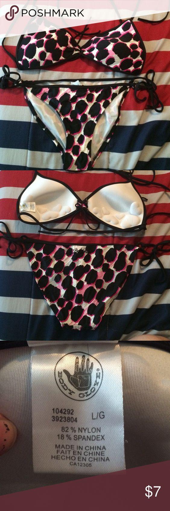 Body Glove leopard bikini Pink, black, white, and silver bikini. Top and bottom both size large. Send me offers!☺️ Body Glove Swim Bikinis