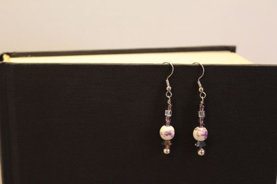 Coupon code 3FOR20 available through March.  Faux Porcelain Purple Drop Earrings by TweetySweetyCrafts on Etsy