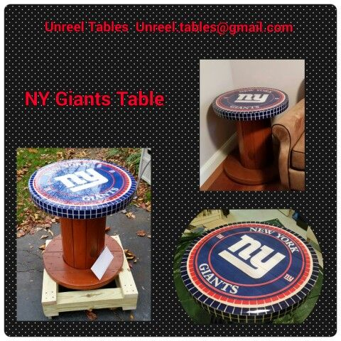 Superbe NY Giants End Table  Electric Wooden Spool