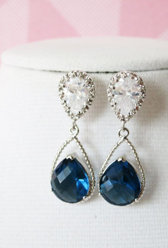 Silver Montana Blue Teardrop Crystal Earrings, Montana blue Bridesmaid Earrings, Bridal Wedding Jewelry, Cubic Zirconia earrings, www.glitzandlove.com