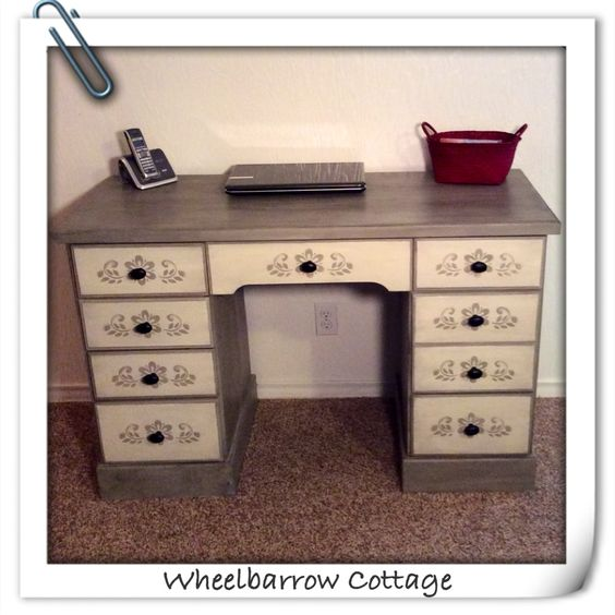 Wheelbarrow Cottage Peacock No Taupe Stenciled Desk