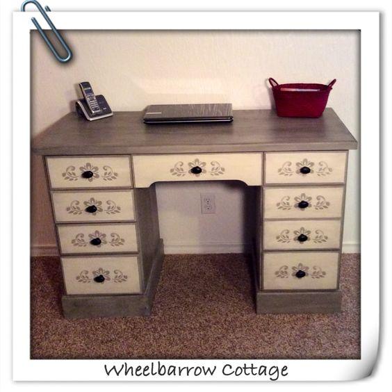 Wheelbarrow Cottage Peacock No Taupe Stenciled Desk