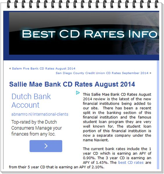 The Banker: Sallie Mae Bank CD Rates August 2014